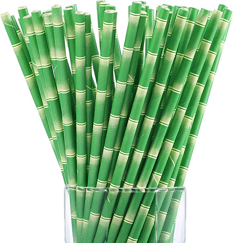 Maxdot Biodegradable Bamboo Print Paper Drinking Straws For Juices Shakes And Smoothies Party Supplies 150 Packs