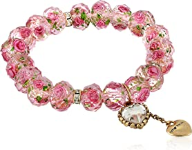 Betsey Johnson Women's Tzarina Pink Beads Stretch Bracelet