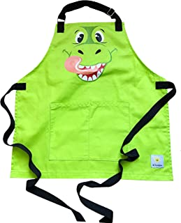 Lil Sunshine Kids Dinosaur Apron (4-8 yrs Old). Includes E-Book. Pure Cotton Canvas with Adjustable Brass Neck Strap & Pockets for Boys and Girls Artists, Chefs, Gardeners.