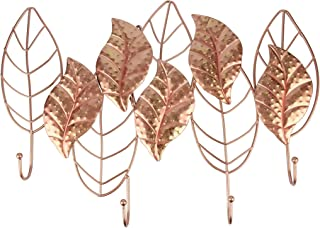 Liffy Metal Leaf Wall Art with Hooks Outdoor Plant Decor Hanging Decorative Glass Sculpture Rose Gold