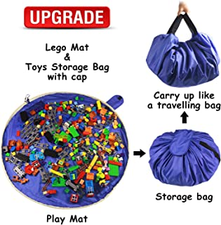 Lego Toy Storage Mat Bag by Drawstring Lego Mat Bag - Lego Brick Storage for Kids – Portable Lego Container Storage 60