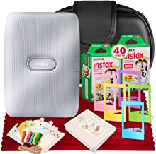 $129 » Fujifilm Instax Mini Link Smartphone Printer (Ash White) + Case, Instax Mini Twin Film (40 Exposures), Fuji Photo Album, an Assortment of Frames & Fibertique Microfiber Cleaning Cloth