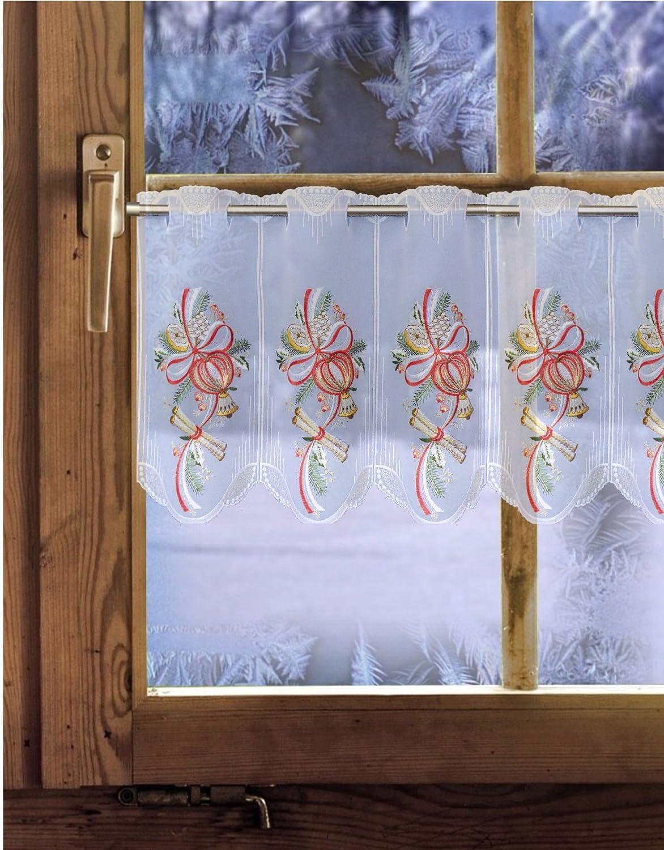 55cm hoch Plauener Spitze Weihnachtsdeko Weihnachtsgardine Spitzengardine Zimtapfel 35cm