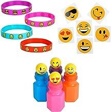 84 Piece Mega Emoji Party Supplies Emoticon Smile Toy Novelty Party Favor Assortment; 24 Emoji Smile Bubble Bottles; 24 Silicone Emoji Smile Bracelets; 36 Emoji Smile Temporary Tattoos