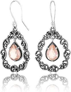 Paz Creations 925 Sterling Silver Lace Teardrop Gemstone Dangle Earrings