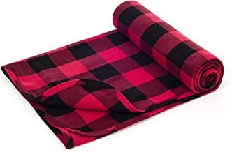 Henry and BROS. Large Double Layer Toddler Blanket, Girl Nap Blanket/Boy Nap Blanket, Light Blanket for Kids, Kids Quilt Patterns Made of 100% Cotton (Red and Black Buffalo Check)