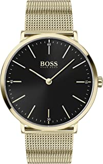 Hugo Boss Black Men's Black Dial Ionic Thin Gold Plated 1 Steel Watch - 1513735