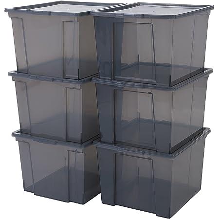 Iris Ohyama, Lot de 6 boîtes de rangement en plastique avec couvercle - Useful Storage Box - USB-M, Gris, 40L, 42 x 36 x 26,5 cm