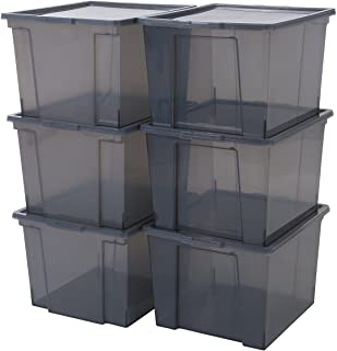 Iris Ohyama, Lot de 6 boîtes de rangement en plastique avec couvercle - Useful Storage Box - USB-M, Gris, 40L, 42 x 36 x 2...