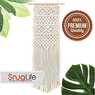 SnugLife Macrame Wall Hanging - Beautiful Boho Decor Handmade Woven Tapestry for Home, Kitchen, Nursery, Bedroom Decorations - 11W x 26H Inches