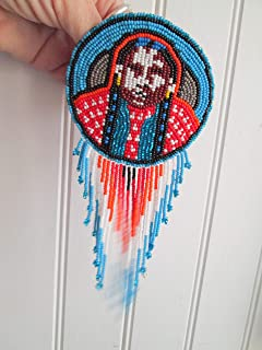 Hand beaded Native american Indian chief person blue turquoise disc medallion Guatemalan Fair trade design hair clip barrette glass seed beads regalia pow wow Guatemala style beadwork