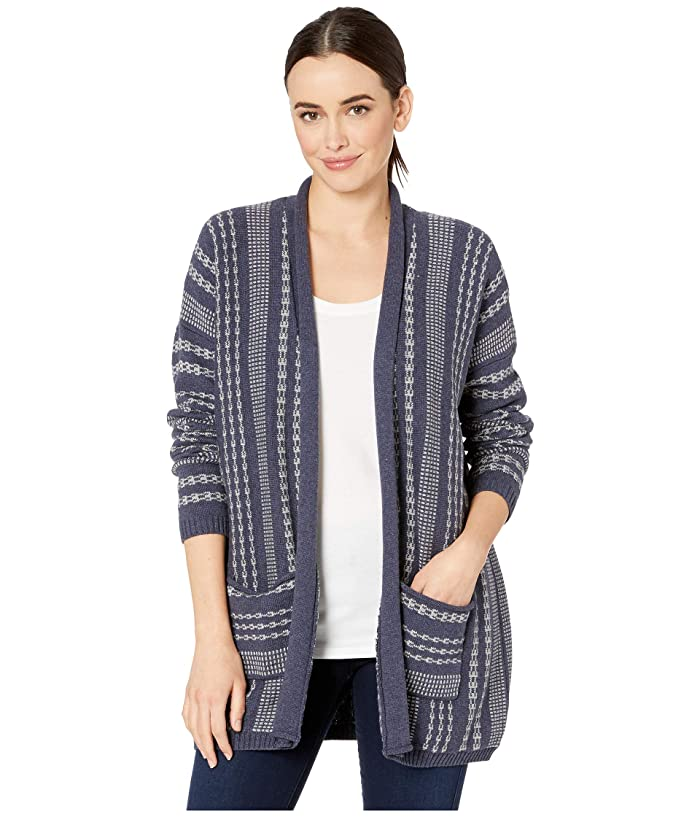 Drop Shoulder Stripe Cardigan (Mood Indigo/Light Grey) Women's Clothing