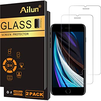 Ailun Screen Protector Compatible for Apple iPhone SE 2020 2nd Generation,iPhone 8,7,6s,6, 4.7inch Tempered Glass 0.25MM 2 Pack 2.5D Edge Scratch Proof Case Friendly