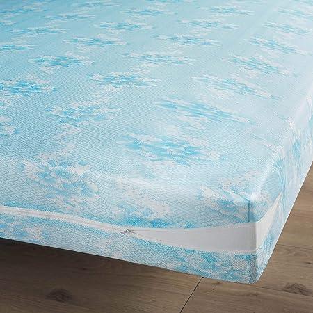 douceur d'intérieur 1640749 Rénove Matelas Polyester Maille Extensible Bleu 200 x 160 x 200 cm