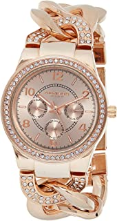 Akribos XXIV Women's Crystal Multifunction Watch - Genuine Crystals On Bezel and Bracelet- 3 Subdials, Day, Date and GMT On Twist Chain Link Bracelet - AK558