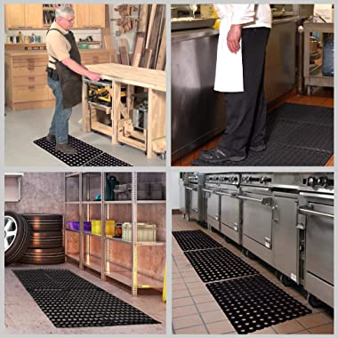 SafetyCare Heavy Duty Flexible Drainage Rubber Floor Mat - Anti-Fatigue Water Hog Comfort Mat - Restaurant & Bar Style -