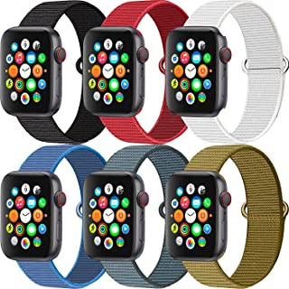 MAZTRON 6-Pack Nylon Band Compatible with Apple Watch 38mm 40mm 42mm 44mm size, Soft Light-weight Breathable Sport Loop Re...