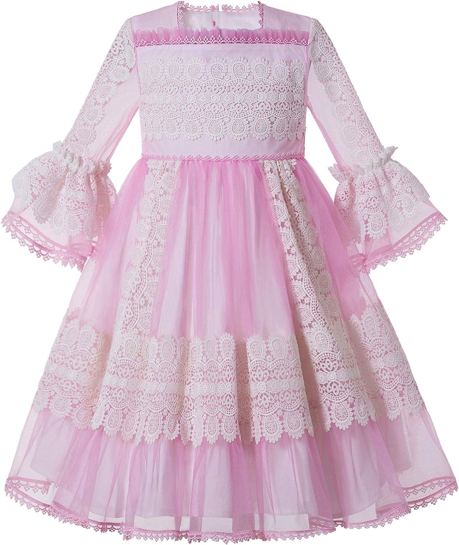 Pettigirl Pink Summer Tulle Lace Communion Dinner Dress