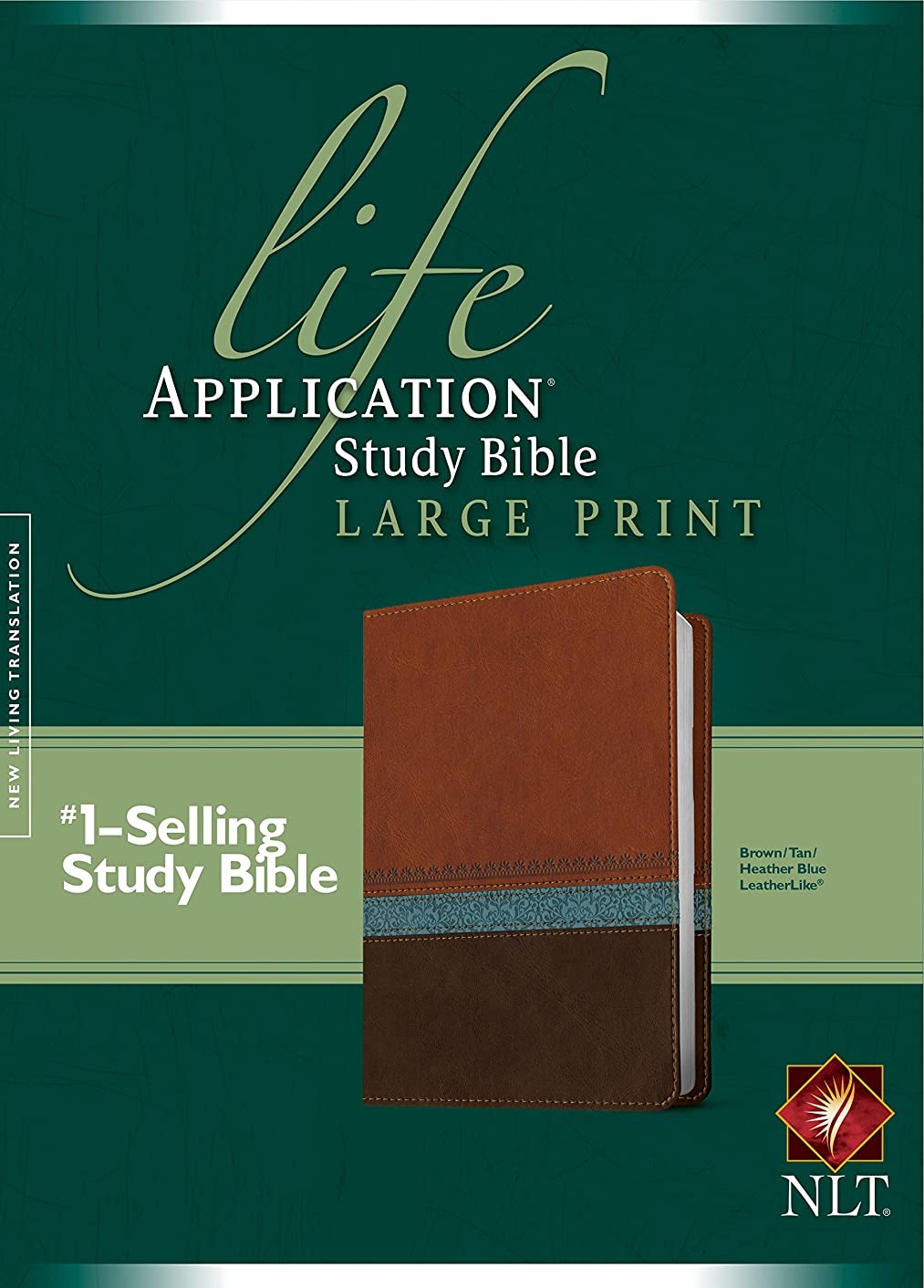 NLT Life Application Study Bible, Second Edition, Large Print (Red Letter, LeatherLike, Heather Blue/Brown/Tan)