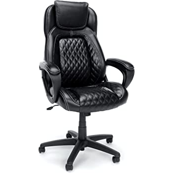 OFM Essentials Collection Racing Style SofThread Leather High Back Office Chair, in Black