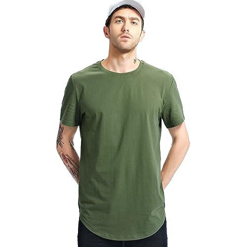7842b543 Bertte Mens Hipster Hip Hop Basic Elong Longline T-Shirt