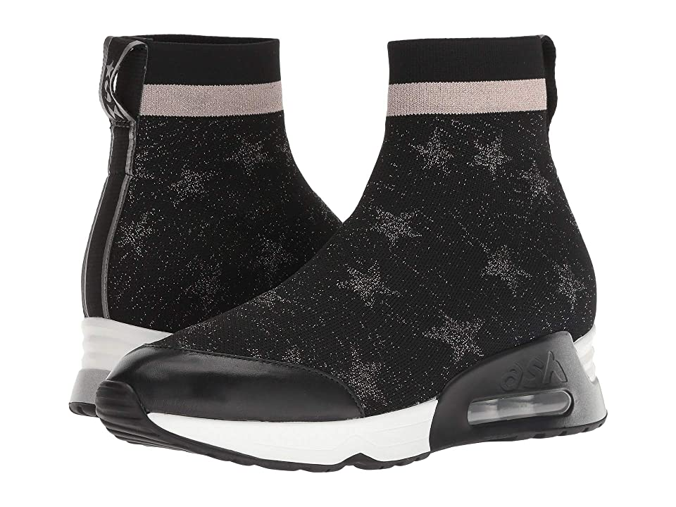 ASH Lulla Star (Black Knit/Old Silver/Black Nappa Calf) Women