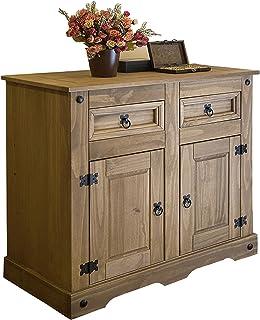 SAM® Cómoda Santa Fe mueble de estilo mexicano cajonera de madera maciza en pino encerado dos cajones y dos puertas mu...