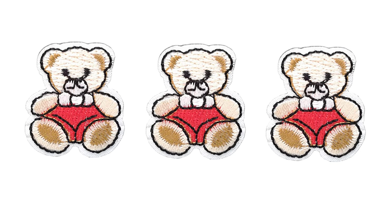 3 small pieces Red TEDDY BEAR Iron On Patch Fabric Applique Motif Children Scrapbooking Decal 1.3 x 1.1 inches (3.3 x 2.8 cm)