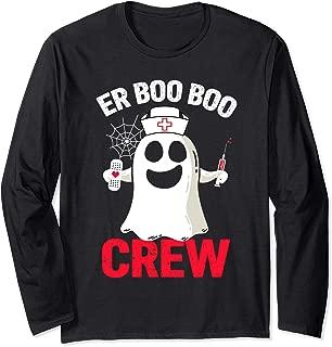 Halloween ER Costume Women Men ER Boo Boo Crew Nurse Ghost Long Sleeve T-Shirt