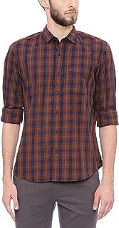 BASICS Slim Fit Carob Brown Checks Shirt