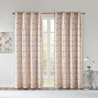 Intelligent Design Raina Total Blackout Metallic Print Grommet Top Window Curtain Panel Thermal Insulated Light Blocking D...