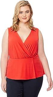 Beme Rebel Wilson Pleated Peplum Top Poppy Red 1XL - Womens Plus Size Curvy