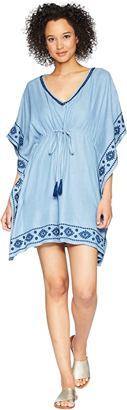 Chambray Embroidered Tunic Cover-Up