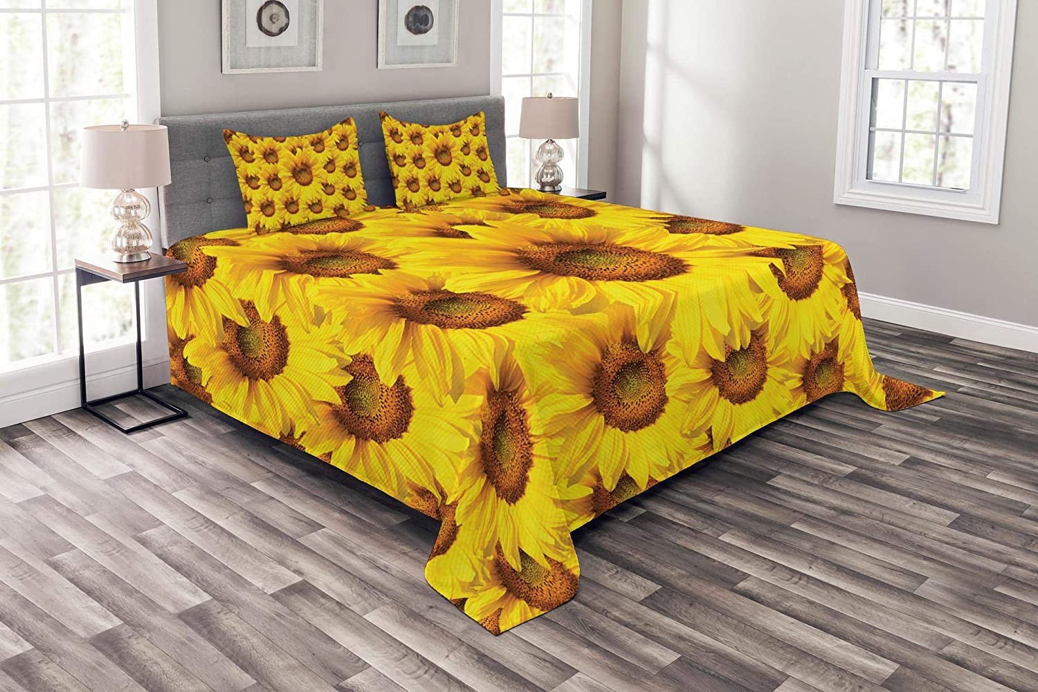 Lunarable Sunflower Bedspread Set Queen Size, Sunflower Bouquet Flourishing Botany Morning Vibrant color Picture Print, Decorative Quilted 3 Piece Coverlet Set with 2 Pillow Shams, Yellow Mustard
