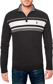 Men's Tri-Color Chest Stripe 1/4 Zip Sweater