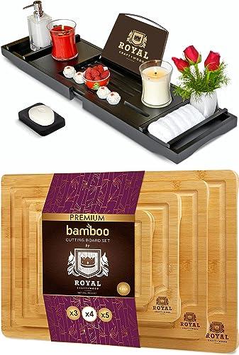 discount ROYAL online sale CRAFT discount WOOD Luxury Bathtub Caddy Tray (Black) and Cutting Board Set of 4 online sale