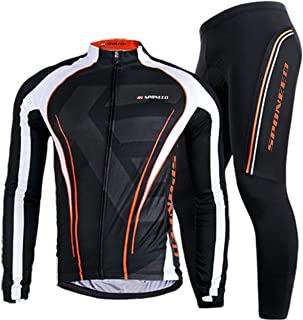 sponeed Men's Bicycle Jersey Full Sleeve Padded Bike Pants Compression Cycle Clothes