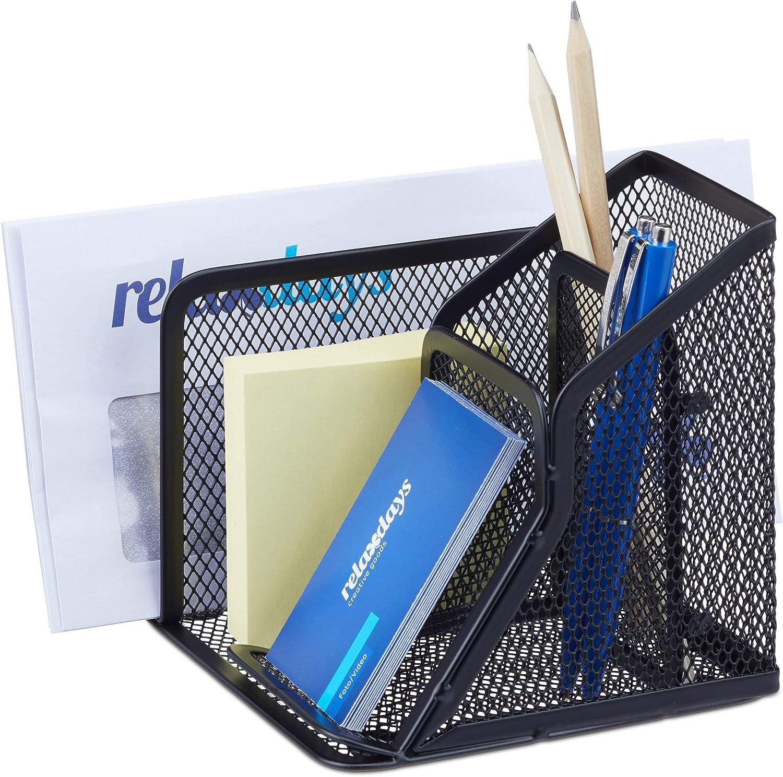 5 Scomparti,HLP 12,5x32,5x20,5 cm,legno Relaxdays Portaoggetti Scrivania,Organizer in Bamb/ù,Portapenne,Ufficio e Casa