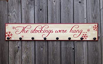 CELYCASY The Stockings were Hung-8x42-WOOD Sign- Large Christmas Stocking Hanger Home Decor