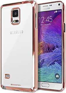 Galaxy Note 4 Case, [Ultra Slim Fit] Goospery Ring 2 Jelly Case [Metallic Edge Finish] Premium TPU Case [Anti-Yellowing/Discoloring Finish] for Samsung Galaxy Note 4 - Rose Gold