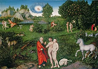 Yard Outdoor Warning Fence Sign 12x16in,Lucas Cranach The Elder: Adam and Eve in The Garden of Eden. Biblical,Tin Metal Si...