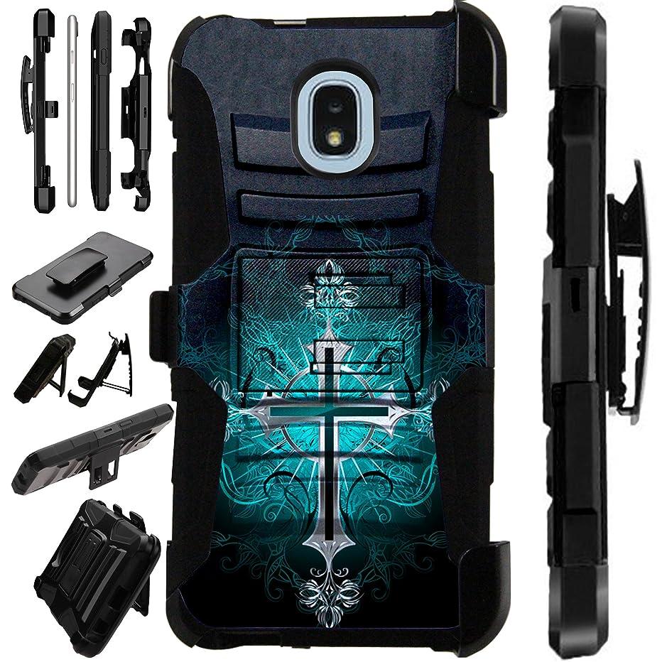 For Samsung Galaxy J7 J7V (2018)   J7 Crown   J7 Eon   J7 Refine   J7 Top   J7 Star   J7 Aero   J7 Aura Case Armor Hybrid Silicone Cover Stand LuxGuard Holster (Teal Gothic Cross)
