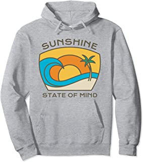 Summer Vacation Quote Sunshine State Mind Palm Trees Ocean Pullover Hoodie