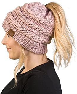 Ponytail Messy Bun BeanieTail Women's Beanie Solid Ribbed Hat Cap
