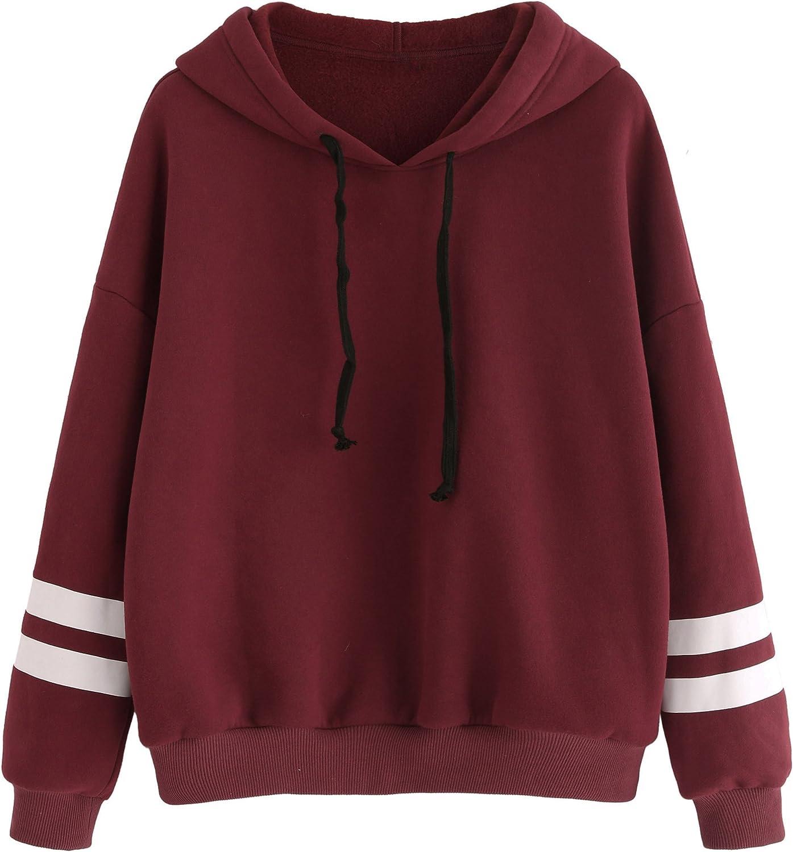 SweatyRocks Sweatshirt Pullover Fleece Drop Shoulder Striped Hoo
