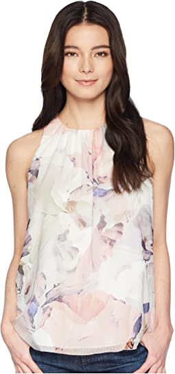 Petite Sleeveless Diffused Blooms Blouse
