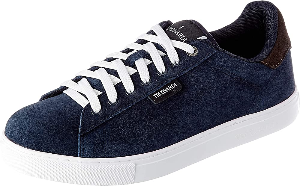 Trussardi jeans dna sd real suede, scarpe da ginnastica uomo,sneakers in ecopelle 77A002709Y099997