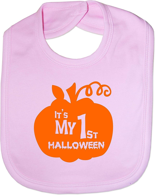 Print4U Feeding Bib My 1st Halloween Pumpkin Pink
