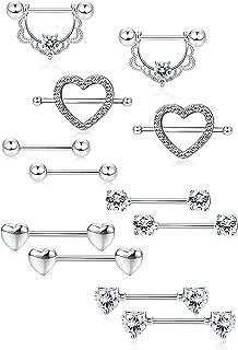 LOLIAS 6Pairs Stainless Steel Nipple Ring Piercing for Women Girls Nipple Studs Nipple Tougue Ring Piercing Barbell Barbell CZ Heart Shape Rings Body Piercing Jewelry