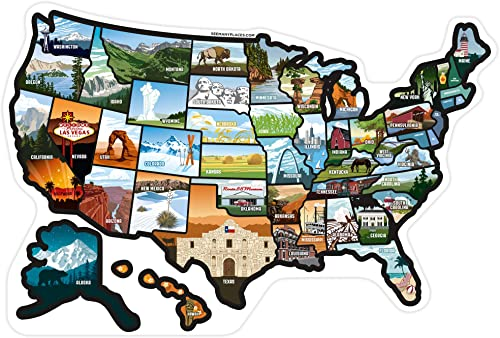 RV State Stickers United States - Travel Camper Map RV Decals for Window, Door, or Wall ~ Includes 50 State Decal Sti...